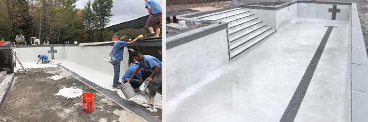 Gunite swiiming pool being plastered in Catskill NY